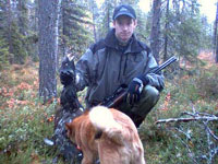 Greate grouse hunting with Finnish spitz